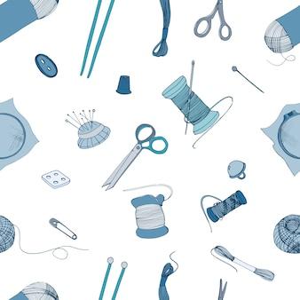 Naadloos patroon met accessoires voor breien en naaien