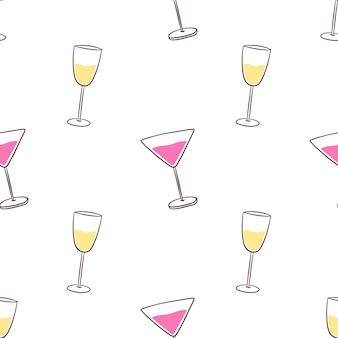 Naadloos patroon met alcoholcocktaildranken en champagne