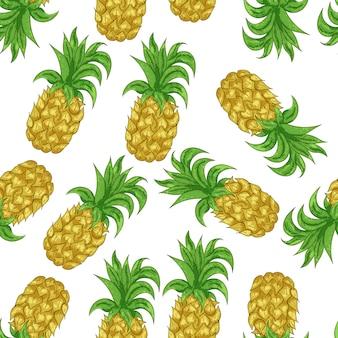 Naadloos patroon met ananas. grafische gestileerde tekening.