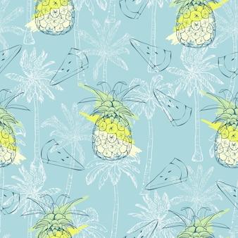 Naadloos patroon met ananas