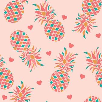 Naadloos patroon met ananassen en hart.
