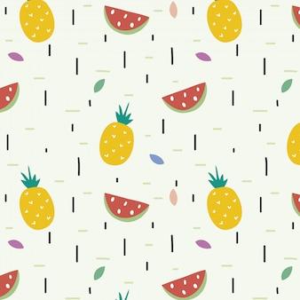 Naadloos patroon met ananassen en wtermelons