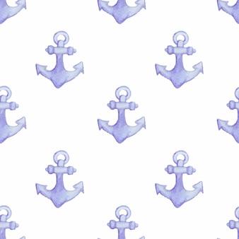 Naadloos patroon met ankers aquarel scheepsanker
