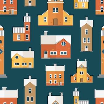 Naadloos patroon met antieke stadsgebouwen, klokkentorens