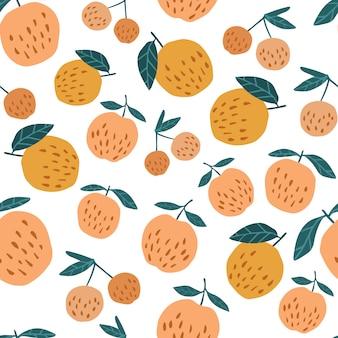 Naadloos patroon met appelen en bladeren.