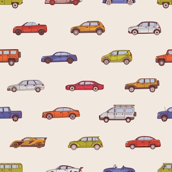 Naadloos patroon met auto's van verschillende typen