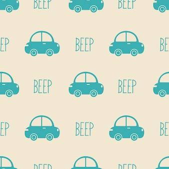 Naadloos patroon met auto's, vectorillustratie