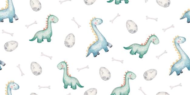 Naadloos patroon met baby groene dinosaurussen en wolken schattige baby illustratie