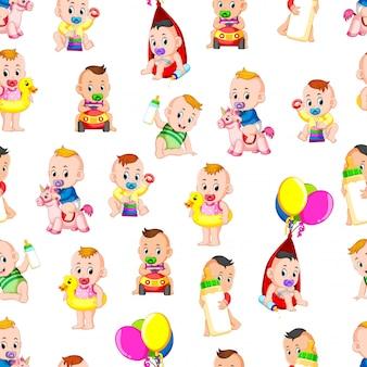 Naadloos patroon met baby het gelukkige spelen