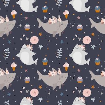 Naadloos patroon met babyhaai, zeedieren. babydouche of gelukkig verjaardagspatroon