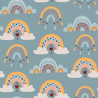 Naadloos patroon met babyregenbogen