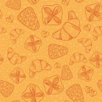 Naadloos patroon met bakkerijproducten. roissant, koekjes, een fluitje van een cent en bladerdeeg.