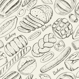 Naadloos patroon met bakkerijproducten