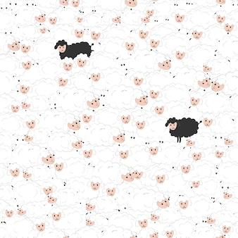 Naadloos patroon met beeldverhaal grappige groep sheeps, decorelementen.