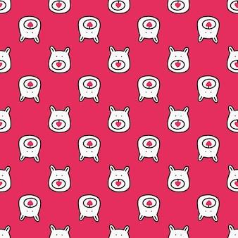 Naadloos patroon met berengezicht en hartjes op een roze achtergrond