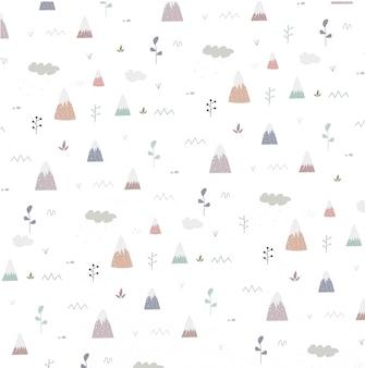 Naadloos patroon met berg en boom