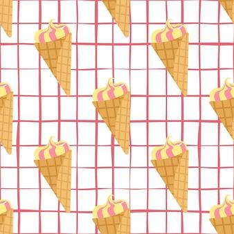 Naadloos patroon met bevroren roomijs. witte geruite achtergrond en crème in gele en roze kleuren.