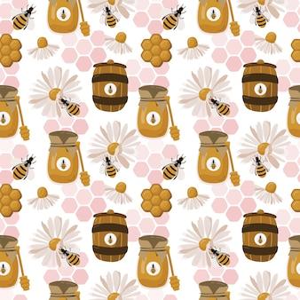 Naadloos patroon met bij, honing en honingraat.