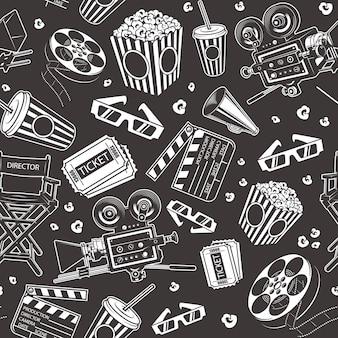 Naadloos patroon met bioscoopelementen