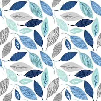 Naadloos patroon met blad blauwe en zilveren kleur