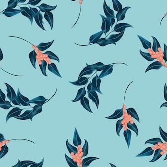 Naadloos patroon met blad en bes