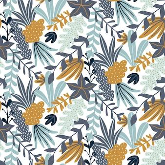 Naadloos patroon met bladeren en bloemenelementen.
