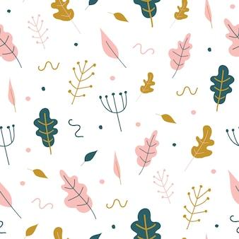 Naadloos patroon met bladeren en met de hand getekende elementen.