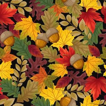 Naadloos patroon met bladeren en walnoot