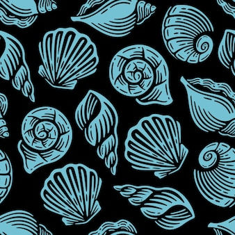Naadloos patroon met blauw zeeleven op vintage design.