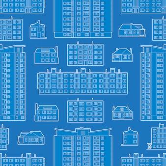 Naadloos patroon met blauwdruk van woningsgebouwen