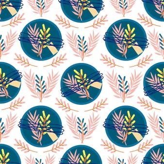 Naadloos patroon met blauwe geschenkdozen en gele en zachtroze bladeren leuke vakantieprint
