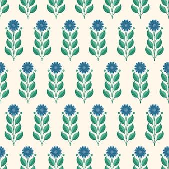 Naadloos patroon met blauwe korenbloemen en groene bladeren vectorillustratie