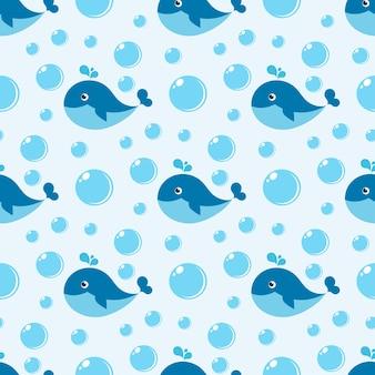 Naadloos patroon met blauwe vinvis en waterbellen