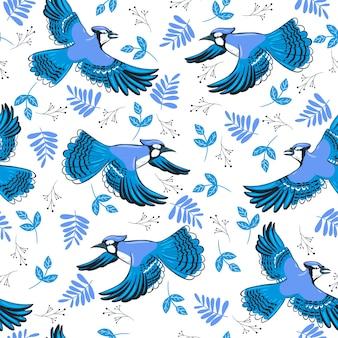 Naadloos patroon met blauwe vlaamse gaaien tijdens de vlucht.
