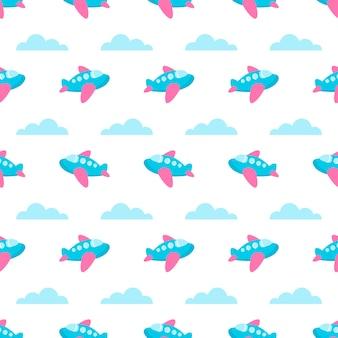 Naadloos patroon met blauwe vliegtuigen en wolken