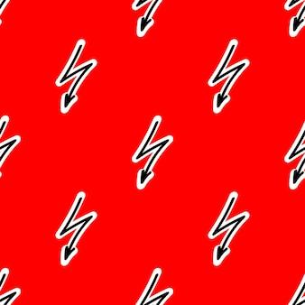 Naadloos patroon met bliksem op een rode achtergrond