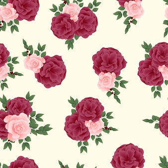 Naadloos patroon met bloeiend roze bloemboeket
