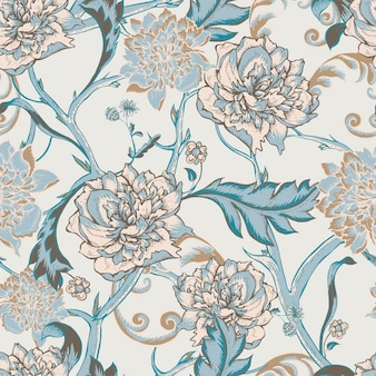 Naadloos patroon met bloeiende pioen