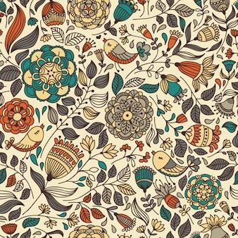Naadloos patroon met bloem en vogels