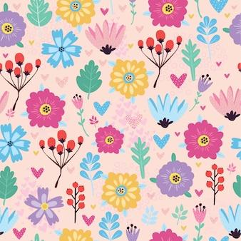 Naadloos patroon met bloemen en bessen