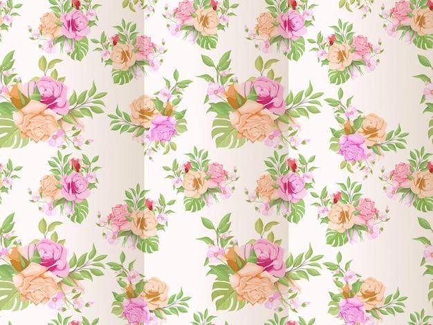 Naadloos patroon met bloemen en blad