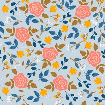 Naadloos patroon met bloemen en bladeren.