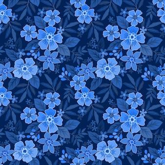 Naadloos patroon met bloemen en bladeren Premium Vector
