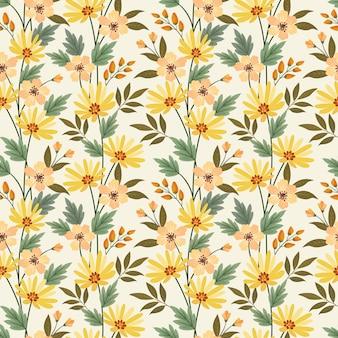 Naadloos patroon met bloemen en bladeren