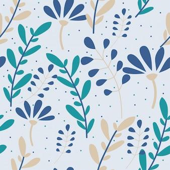 Naadloos patroon met bloemen en groene bladeren