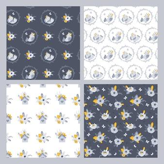 Naadloos patroon met bloemen en vogels vector