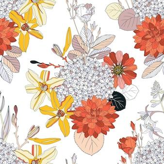 Naadloos patroon met bloemen.