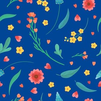 Naadloos patroon met bloemenbloesems en bladeren