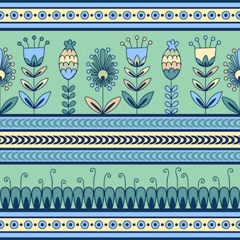 Naadloos patroon met bloemenornament in de decoratieve banden