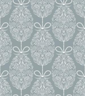 Naadloos patroon met bloemenpaaseieren